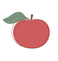 A red apple with green leaves is whole fruit vector