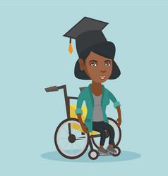 African-american graduate sitting in wheelchair vector