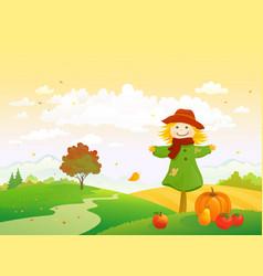 Autumn scarecrow vector