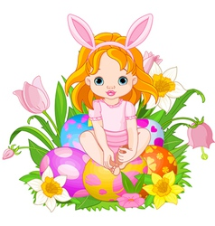 Baby girl sitting on easter eggs vector