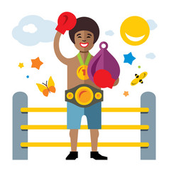 boxing success flat style colorful cartoon vector image