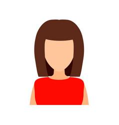 Brown-haired girl with a fashionable haircut flat vector