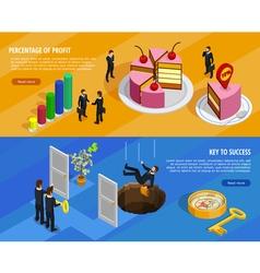 Business Development Isometric Horizontal Banners vector