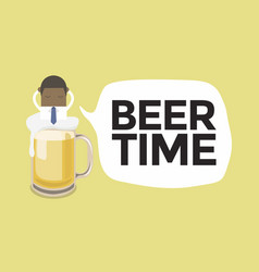 businessman in a beer mug with beer time message vector image
