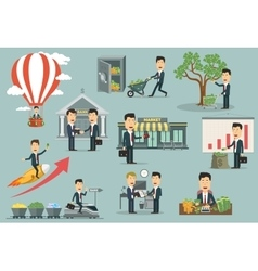 Businessman or manager interacting with money vector