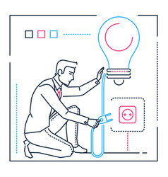 businessman searching for ideas - line design vector image