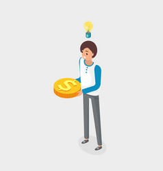 businesswoman with golden coin idea light bulb vector image