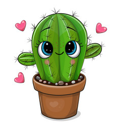 cartoon cactus with eyes isolated on a white vector image