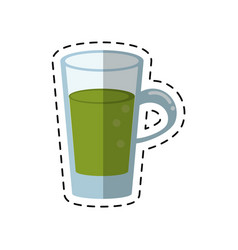 Cartoon glass cup juicy refreshment vector