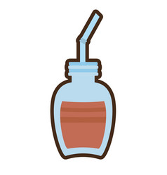 cartoon jar glass chocolate beverage vector image