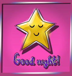 Cartoon yellow smiling and sleeping star on pink vector