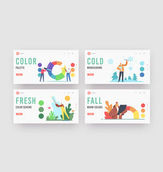 Characters working with color palette wheel vector