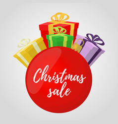 Christmas sale red ball ad poster banner vector