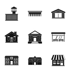 City public buildings icons set simple style vector