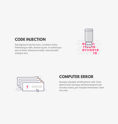 code injection and computer error cyber security vector image vector image