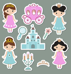 collection of cute princess stickers collection vector image