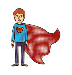 color crayon stripe cartoon full body super guy vector image