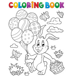 coloring book easter rabbit topic 2 vector image