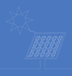 continuous one line drawn sun and solar panel vector image