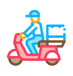 courier delivery on motorcycle icon outline vector image
