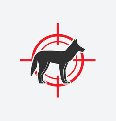 coyote silhouette animal pest icon red target vector image
