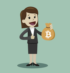 Crypto-currency market lucky businesswoman or vector