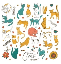 Cute colorful set of hand drawn cats with twigs vector