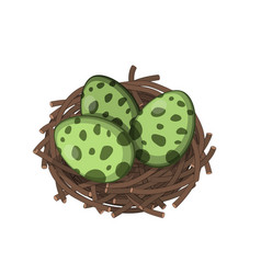 dinosaurs nest with eggs in isometric style vector image