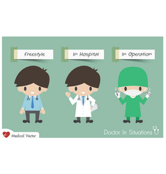 doctor in situations vector image