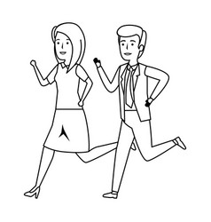 elegant business couple running character vector image