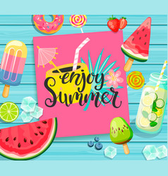 Enjoy summer lettering on blue wooden background vector