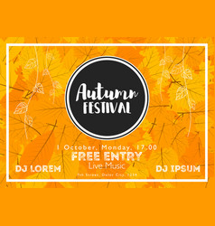 fall festival template bright colourful autumn vector image