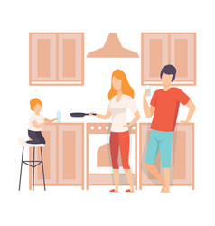 Family cooking food in the kitchen together vector