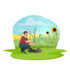 Farmer or gardener planting tree in garden icon vector