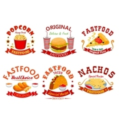 Fast food cafe badge set with takeaway dishes vector image