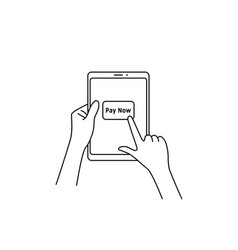 Forefinger press pay now button on tablet vector