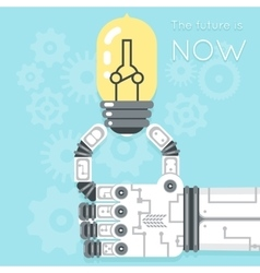 Future is now Robot hand holding light bulb vector