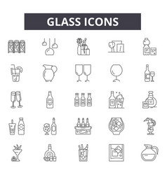 glass line icons signs set outline vector image