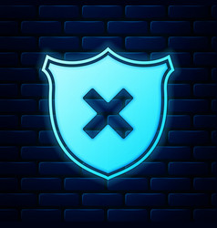 glowing neon shield and cross x mark icon isolated vector image