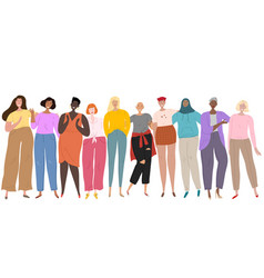 goup different ethnicity and cultures women vector image