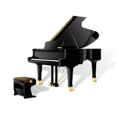 Grand piano isolated on white background fully vector