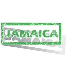 Green outlined Jamaica stamp vector