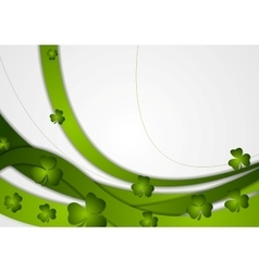 Green waves and clovers shamrocks vector image