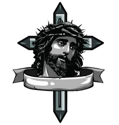 hand drawn or drawing jesus vector image
