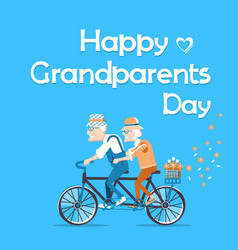 happy grandparents day holiday card with text vector image