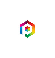 hexagon letter p logo icon design vector image