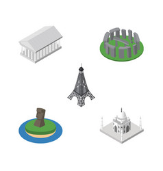 isometric architecture set of paris chile athens vector image