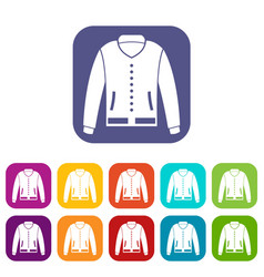 jacket icons set flat vector image
