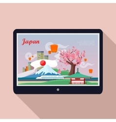 Japan Landmark on Tablet Screen vector