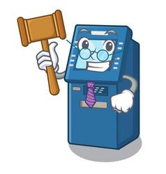 Judge atm toys on cartoon cupboard vector
